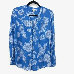 Lucky Brand Floral L/S Button Up Peasant Blouse